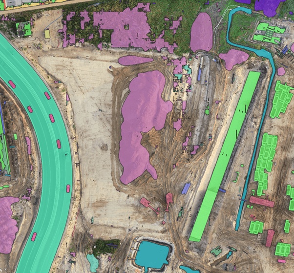 Color aerial view mapping imagery of a construction